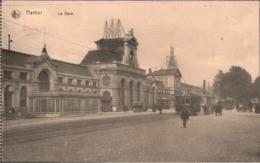 ! Namur, La Gare, Bahnhof, Straßenbahn, Tram, Carte Allemande,  Bahnpost Gent - Courtrai, 1915, Marine Feldpost - Namur
