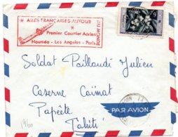 1er Vol Nouméa Los Angelès Paris 1960 - Erstflug Inaugural Flight - !! Oblitération Peu Lisible - Briefe U. Dokumente