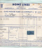 Home Lines - Paquebot Homéric 1961 - Class Passage Ticket - Billet Au Départ Le Havre Avec Timbre Fiscal + Consignes - Nautique & Maritime