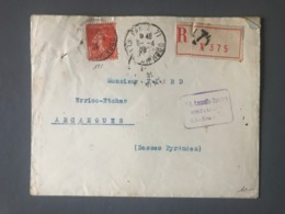 France N°195 Seul Sur Lettre Recommandée 1928 - (B2635) - 1921-1960: Periodo Moderno
