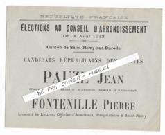 63   - SAINT REMY SUR DUROLLE  - ARCONSAT  - Elections - 1913 - Historical Documents