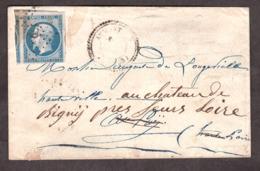 Lettre Décembre 1857 - Cachet Type 22 Aumont (Lozère) - Divers Type 15 Au Dos - Napoléon III N° 14A (3 Voisins) PC179 - Marcophilie (Lettres)