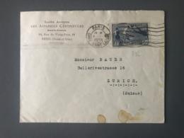 France N°396 Seul Sur Lettre De Paris Pour Zurich (Suisse) 1938 - (B2644) - 1921-1960: Periodo Moderno