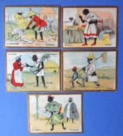 5 CHROMOS ...MADAGASCAR...LE TROTTIN..LE SAVANT..L'ACTEUR..LE FACTEUR..LE PROPRIÉTAIRE...CONFISERIE DUPRE/ARGENTON - Altri