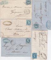 Lot De 5 Lettres Ayant Voyagées.  2 Scans (Recto Et Verso) - 1863-1870 Napoleon III Gelauwerd