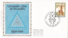 België - FDC Z.n. - Zijde - 150e Verjaardag Van De Oprichting Van De Université Libre De Bruxelles - OBP 2112 - 1981-90
