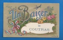 33 - COUTRAS - UN BAISER  - FANTAISIE - FLEURS HIRONDELLE - 1917 - Other Municipalities