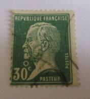 Timbre Pasteur 30c Vert YT N°174 - Belle Variété - Lune Sous Le Menton - Oblitéré - France