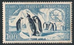 TAAF 1956 - Yv. PA 3 *   Cote= 48,00 EUR - Manchots Empereurs (Terre Adélie) 100f  ..Réf.TAF21032 - Poste Aérienne