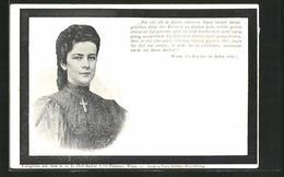 AK Portrait Der Kaiserin Elisabeth (Sissi) Von Österreich, Worte Des Kaisers Anlässlich Des Todes Der Kaiserin 1889 - Königshäuser