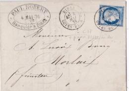 FRANCE :  Cérès 60 C Sur LaC De Dinan De 1876 Pour Morlaix - 1849-1876: Période Classique