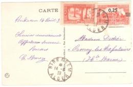 BIRKADEM Algérie Carte Postale 15c Touggourt 0,25/50c Amirauté Yv 106 148 Ob 1939 Dest Orsmoy Haute Marne - Briefe U. Dokumente