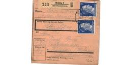 ALLEMAGNE  /  COLIS-POSTAL  /  De Drütte über Braunschweig / Pour Waldheim   / 15-12-43 - Alemania