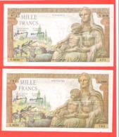 Lot De 2 Billets 1000 Francs Demeter Bel état 1943 - 1871-1952 Anciens Francs Circulés Au XXème