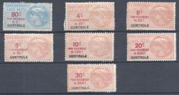 Fiscaux TAXE DE LUXE Lot De Timbres De Contrôle ** - Revenue Stamps