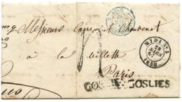 BELGIQUE - CAD D'AMBULANT MIDI N°5 + GRIFFE  GOSLIES SUR LETTRE AVEC TEXTE POUR LA FRANCE, 1858 - Belgique