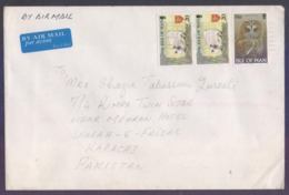 Owl Birds Of Prey, Cats, Postal History Cover From ISLE OF MAN, Used 1998 - Man (Eiland)