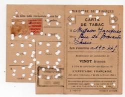 (guerre 39-45) Restrictions Rationnement : Carte De Tabac D'un GROS FUMEUR 1945 (PPP21115) - Zonder Classificatie