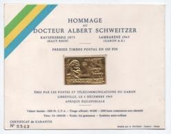 GABON - TIMBRE EN OR (GOLD) POSTE AERIENNE N° 41 Avec CERTIFICAT NUMEROTE - 1000 Fr MORT DU DOCTEUR SCHWEITZER - Gabun (1960-...)