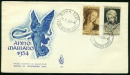 Fd Italy FDC 1954 MiNr 924-925 | Termination Of Marian Year - 6. 1946-.. Republic