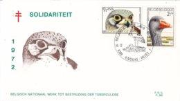 """België - FDC 382 - 16 December 1972 - Solidariteit - Vogels Uit Het Natuurreservaat """"Het Zwin"""" - OBP 1652/1655 - FDC"""