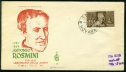 Fd Italy FDC 1955 MiNr 945 | Death Cent Of Rosmini (theologian) - 6. 1946-.. Republic
