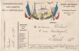 FRANCE : CORRESPONDANCE DES ARMEES DE LA REPUBLIQUE .  DRAPEAUX , CANON , TOUR EIFFEL .... 09/10/1914 . - Marcophilie (Lettres)