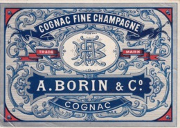 Cognac Fine Champagne, A. Borin & C. - Etiketten