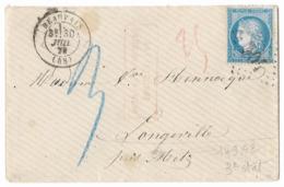TIMBRE 60/1 ; GRANDE CASSURE ;  LETTRE Avec N°149  A2  ;3ème état; TAXÉE ;TTB - 1871-1875 Cérès