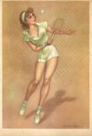 """6005 """"PIN-UPS - ILLUSTRAZIONE DI MARAJA DEGLI ANNI '60-TENNISTA """"CART. POST. ORIG NON SPEDITA - Pin-Ups"""
