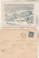 Yvert 90 Sage Lettre Illustrée Verso + Lettre Entête Gd Hôtel De La Grotte Cachet Gare De LOURDES 1894 à St Céré Lot - Storia Postale