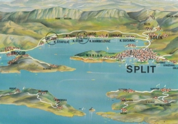 Split Kastela Trogir Solin Brac Solta Map POstcard - Kroatië