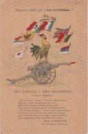 """FRANCE : CARTE POSTALE . SOUVENIR OFFERT PAR """" LE JOURNAL """" . DES CANONS § DES MUNITIONS ! . - Poststempel (Briefe)"""