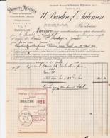 BORDEAUX BARDON SALOMON  PRODUITS RESINEUX COLOPHANES BRAIS RESINE GOUDRON ANNEE 1914 AVEC RECEPISSE - France