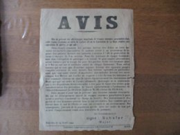 DESVRES LE 24 AVRIL 1944 AVIS DER KREISKOMMANDANT SCHÄFER MAJOR AFFICHE 40cm/30cm - Dokumente