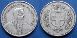 SWITZERLAND - Silver 5 Francs 1931 B KM# 40 Confoederatio Helvetica - Edelweiss Coins - Suisse
