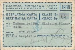 Ticket UL000394 - Ship (Schiff / Boat) Jadranska Plovidba Susak Hrvatska (Croatia) 1938 - Tickets D'entrée