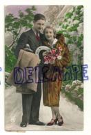 Photographie. Bonne Année. Couple, Fer à Cheval, Fleurs. 1928 - Couples