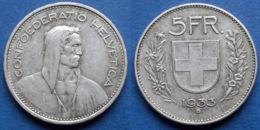 SWITZERLAND - Silver 5 Francs 1933 B KM# 40 Confoederatio Helvetica - Edelweiss Coins - Suisse