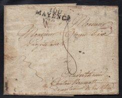 """MP """"100/ MAYENCE"""" NOIRE - MONT-TONNERRE / 1811 LAC DEPARTEMENT CONQUIS POUR GEUDERTHEIM - ALSACE (ref 4855) - Marcofilia (sobres)"""