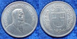 SWITZERLAND - Silver 5 Francs 1954 B KM# 40 Confoederatio Helvetica - Edelweiss Coins - Suisse