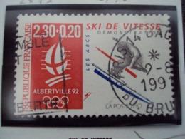 "1990-99 - Timbre Oblitéré N°2675      ""  Albertville 92 : Ski Vitesse              ""   Net      0.40 - France"