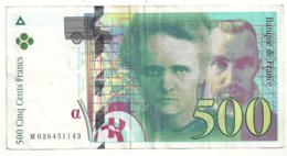 500 Francs 1994 état Ttb - 1992-2000 Ultima Gama