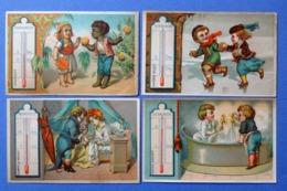 4 CHROMOS  ..LE THERMOMÈTRE...ORANGES...MALADE....BAINS....RIVIÈRES GELÉES - Chromos