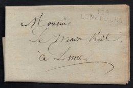 """MP """"128 / LUNEBOURG"""" NOIRE - BOUCHES DE L'ELBE / 1812 LAC DEPARTEMENT CONQUIS POUR LÜNE - PORT LOCAL (ref 7685) - Marcophilie (Lettres)"""