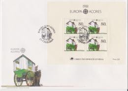 Acores 1988 FDC Europa CEPT Souvenir Sheet (LAR8-62) - Europa-CEPT