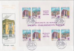 Monaco 1990 FDC Europa CEPT Souvenir Sheet (LAR8-62) - 1990