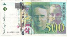 500 Francs 1995 état Ttb - 1992-2000 Ultima Gama