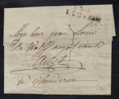 """DEPARTEMENTS CONQUIS - LA DYLE / 1799 """"94 / LOUVAIN"""" EN NOIR SUR LAC - 31 Mm (ref 5552d) - Marcofilie (Brieven)"""