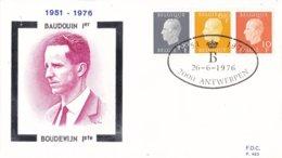 België - FDC 483/484 - 26 Juni 1976 - 25e Verjaardag Van De Eedaflegging Van Koning Boudewijn - OBP 1811-1815 - FDC